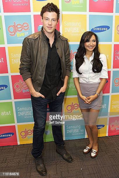 Cory Monteith and Naya Rivera attend the Glee Live Samsung Infuse 4G for ATT Chicago retail event at the ATT Store on June 3 2011 in Skokie Illinois