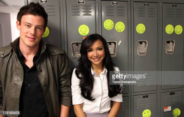 Corey Monteith and Naya River meet fans at the Glee LIVE Tour in association with Samsung Mobile and ATT at ATT store on June 3 2011 in Skokie...