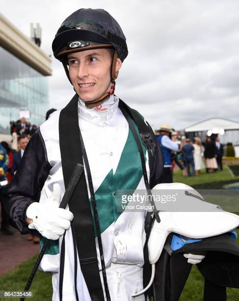 Cory Parish after riding Boom Time to win Race 8 Caulfield Cup during Melbourne Racing on Caulfield Cup Day at Caulfield Racecourse on October 21...