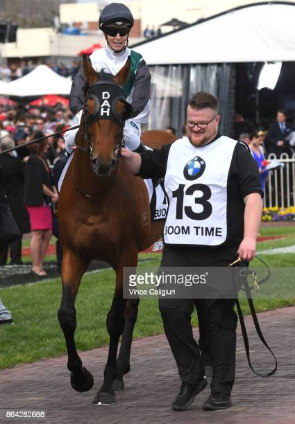 Cory Parish riding Boom Time before winning Race 8 Caulfield Cup during Melbourne Racing on Caulfield Cup Day at Caulfield Racecourse on October 21...