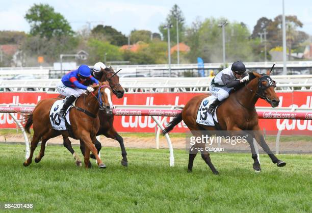Cory Parish riding Boom Time wins Race 8 Caulfield Cup during Melbourne Racing on Caulfield Cup Day at Caulfield Racecourse on October 21 2017 in...