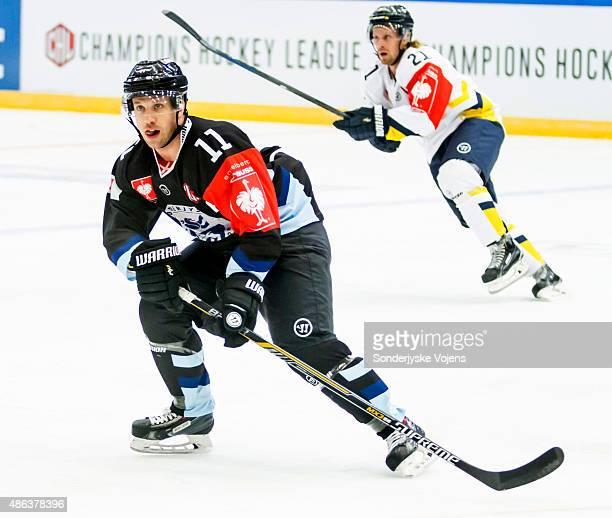 Cory Quirk of Vojens during the Champions Hockey League group stage game between SonderjyskE Vojens and HV71 Jonkoping on September 3 2015 in Vojens...