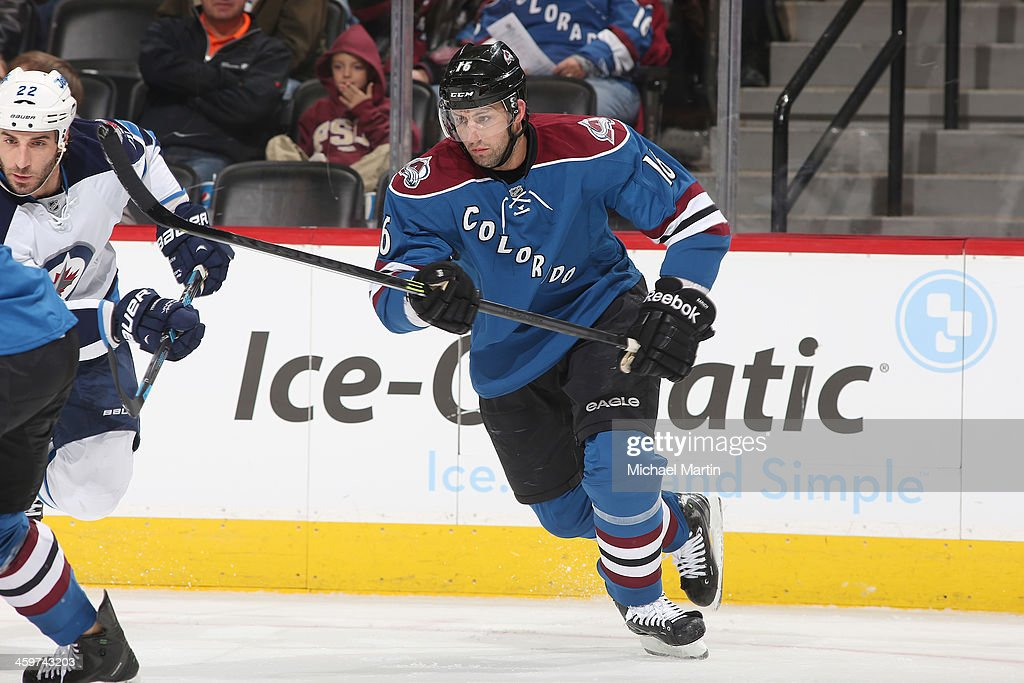 <a gi-track='captionPersonalityLinkClicked' href=/galleries/search?phrase=Cory+Sarich&family=editorial&specificpeople=204153 ng-click='$event.stopPropagation()'>Cory Sarich</a> #16 of the Colorado Avalanche skates against the Winnipeg Jets at the Pepsi Center on December 29, 2013 in Denver, Colorado.