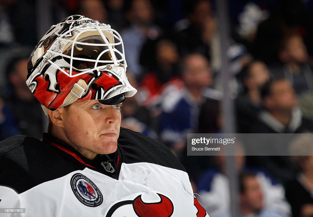 <a gi-track='captionPersonalityLinkClicked' href=/galleries/search?phrase=Cory+Schneider&family=editorial&specificpeople=696908 ng-click='$event.stopPropagation()'>Cory Schneider</a> #35 of the New Jersey Devils skates against the Toronto Maple Leafs at the Air Canada Centre on November 8, 2013 in Toronto, Canada. The Maple Leafs defeated the Devils 2-1 in the shootout.