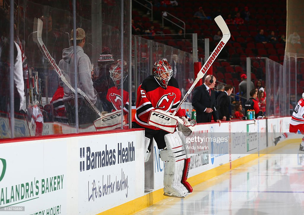f585af104 ... Cory Schneider 35 of the New Jersey Devils takes the ice for warm ups  prior ...