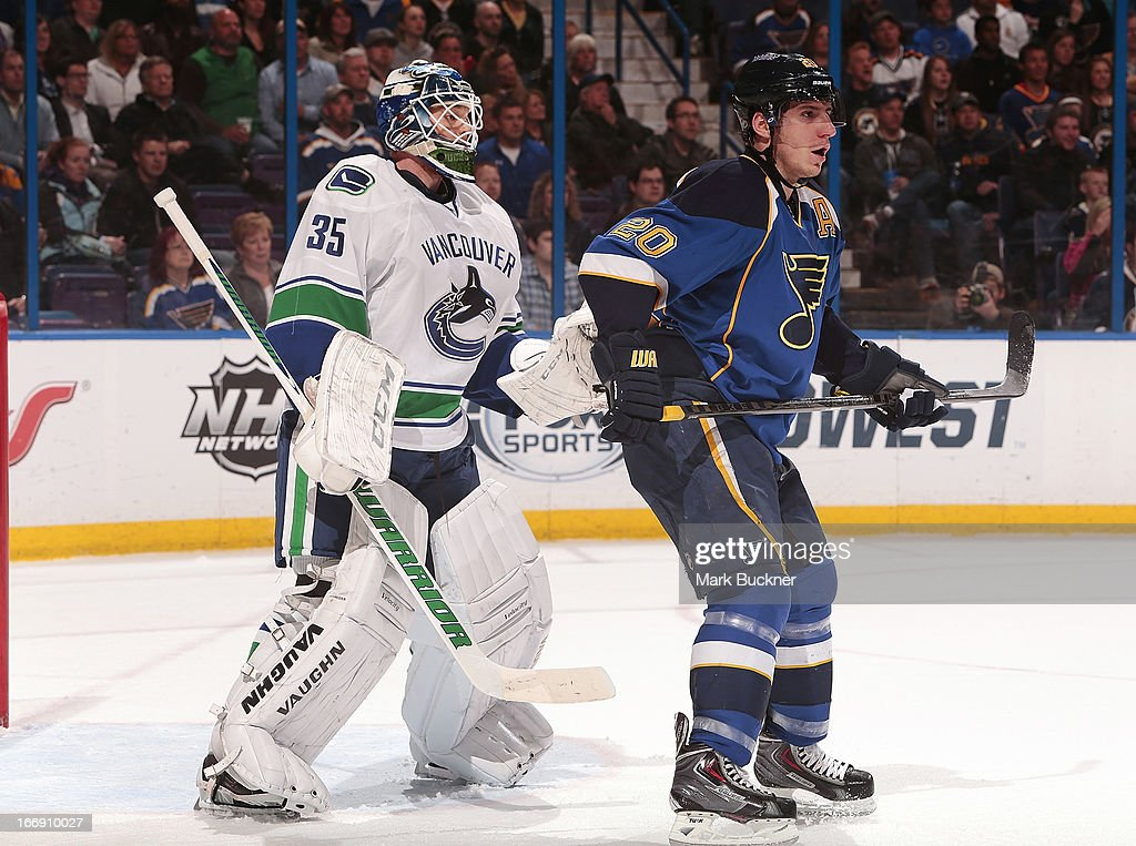<a gi-track='captionPersonalityLinkClicked' href=/galleries/search?phrase=Cory+Schneider&family=editorial&specificpeople=696908 ng-click='$event.stopPropagation()'>Cory Schneider</a> #35 of the Vancouver Canucks defends against <a gi-track='captionPersonalityLinkClicked' href=/galleries/search?phrase=Alexander+Steen&family=editorial&specificpeople=600136 ng-click='$event.stopPropagation()'>Alexander Steen</a> #20 of the St. Louis Blues in an NHL game on April 16, 2013 at Scottrade Center in St. Louis, Missouri.