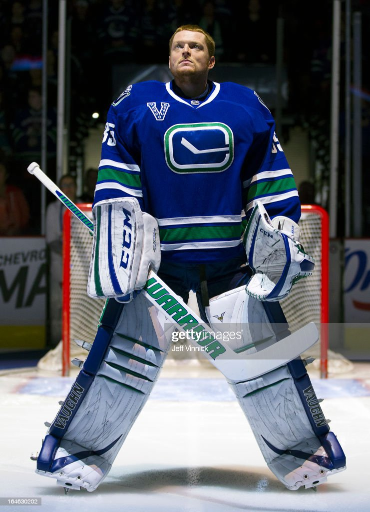 <a gi-track='captionPersonalityLinkClicked' href=/galleries/search?phrase=Cory+Schneider&family=editorial&specificpeople=696908 ng-click='$event.stopPropagation()'>Cory Schneider</a> #35 of the Vancouver Canucks looks on from his crease during their NHL game against the San Jose Sharks at Rogers Arena March 5, 2013 in Vancouver, British Columbia, Canada. San Jose won 3-2.