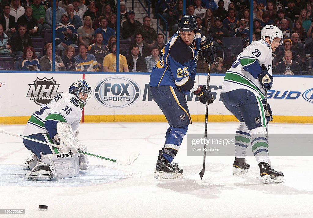 <a gi-track='captionPersonalityLinkClicked' href=/galleries/search?phrase=Cory+Schneider&family=editorial&specificpeople=696908 ng-click='$event.stopPropagation()'>Cory Schneider</a> #35 of the Vancouver Canucks makes a save on a shot by Chris Stewart #25 of the St. Louis Blues in an NHL game on April 16, 2013 at Scottrade Center in St. Louis, Missouri.