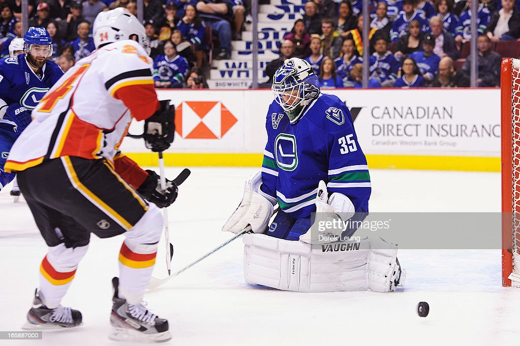 <a gi-track='captionPersonalityLinkClicked' href=/galleries/search?phrase=Cory+Schneider&family=editorial&specificpeople=696908 ng-click='$event.stopPropagation()'>Cory Schneider</a> #35 of the Vancouver Canucks stops the shot of <a gi-track='captionPersonalityLinkClicked' href=/galleries/search?phrase=Jiri+Hudler&family=editorial&specificpeople=2118675 ng-click='$event.stopPropagation()'>Jiri Hudler</a> #24 of the Calgary Flames during an NHL game at Rogers Arena on April 6, 2013 in Vancouver, British Columbia, Canada. The Vancouver Canucks won 5-2.