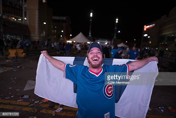 Cory Vanlaningham of Columbus Ohio celebrates the Chicago Cubs win over the Cleveland Indians in game 7 of the World Series in the early morning...