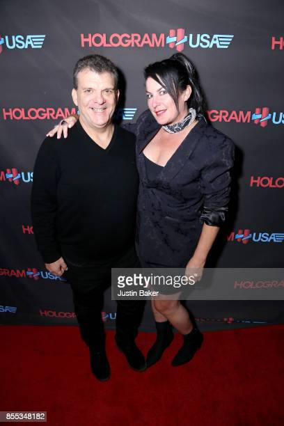 Cory Weisman and Maggie Finneran attend Hologram USA's Gala Preview at Hologram USA Theater on September 28 2017 in Los Angeles California