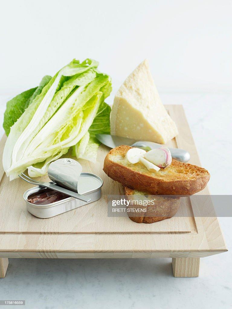 Cos lettuce, parmesan, bread, garlic and anchovies