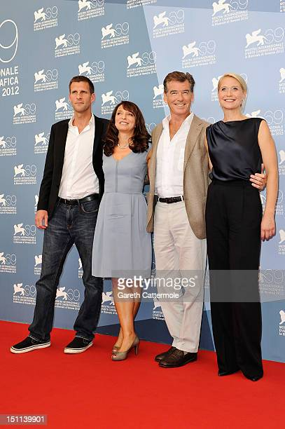 Coscreenwriter Anders Thomas Jensen director Susanne Bier actor Pierce Brosnan and actress Trine Dyrholm attend the 'Love Is All You Need' Photocall...