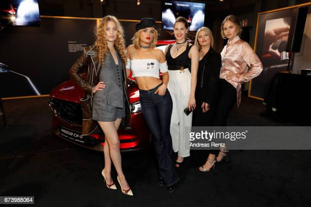 Cosima Auermann Chiara Moon Emma Kathleen Ferrer Luna Schweiger and Elena Carriere attend the spring cocktail hosted by Mazda and InTouch magazine at...