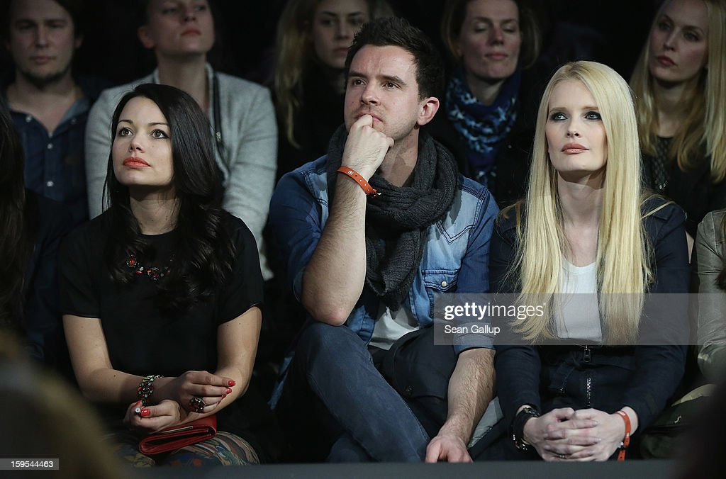 Cosma Shiva Hagen and Mirja Du Mont watch the GStar Autumn/Winter 2013 runway show at St Agnes Church on January 15 2013 in Berlin Germany