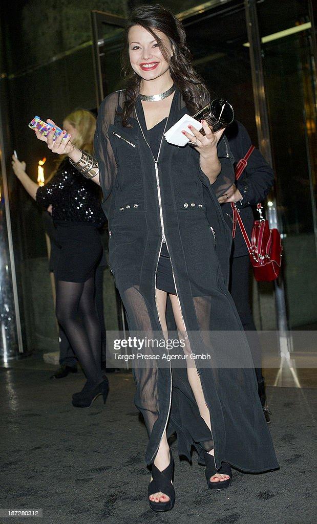 Cosma Shiva Hagen leaves the Regent Hotel on November 7 2013 in Berlin Germany