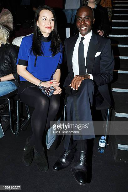 Cosma Shiva Hagne and Bruce Darnell attend Marcel Ostertag Autumn/Winter 2013/14 fashion show during MercedesBenz Fashion Week Berlin at Brandenburg...