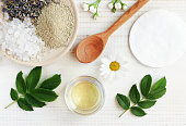 Natural herbal skin care products, top view ingredients.