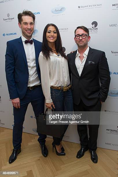 Cosmetic surgeons Volker Rippmann Christian Roessing and Fiona Erdmann attend the Metropolitan Aesthetics Practice Opening on January 23 2014 in...