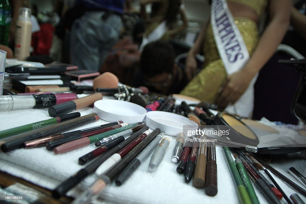 Cosmetics are arrayed ready for making up the contestants backstage in the transvestite and transgender beauty pageant Miss International Queen 2013 at Tiffany's Show theatre in Pattaya city. Twenty-five contestants from 17 countries are participating in the event, which is endowed with prize money of 300,000 Thai baht (10,000 US dollars), a crown with real gems and a free surgery at a plastic surgery clinic in Bangkok..