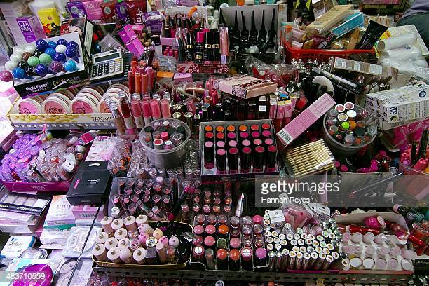 Cosmetics are on seen on display at a local market on April 9 2014 in Phnom Penh Cambodia The Cambodia beauty industry continues to grow aided by the...