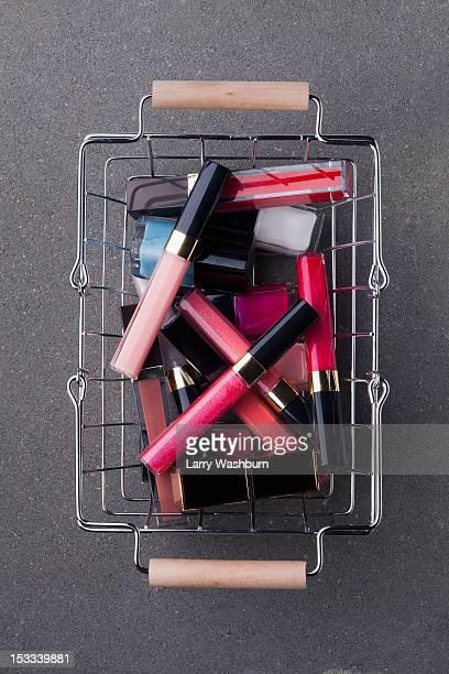 Cosmetics in shopping basket