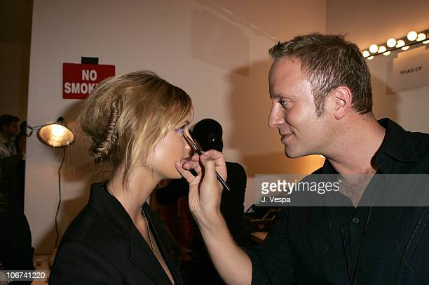 MAC Cosmetics Makeup artist Gregory Arlt during MercedesBenz Spring 2005 Fashion Week at Smashbox Studios Pegah Anvarian Backstage and Front Row at...
