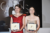 Cosmina Stratan and Cristina Flutur pose at the Winners Photocall during the 65th Cannes International Film Festival