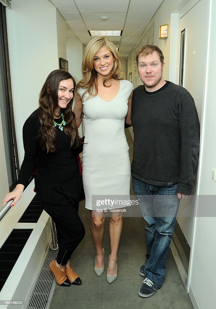 Cosmo Radio host Taylor Strecker, Adrianne Palicki and Cosmo Radio co-host Kenny Zimlinghaus pose on Cosmo Radio at SiriusXM Studios on March 5, 2013 in New York City.