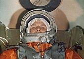 Cosmonaut yuri gagarin inside the vostok 1 space capsule just prior to his flight 1961
