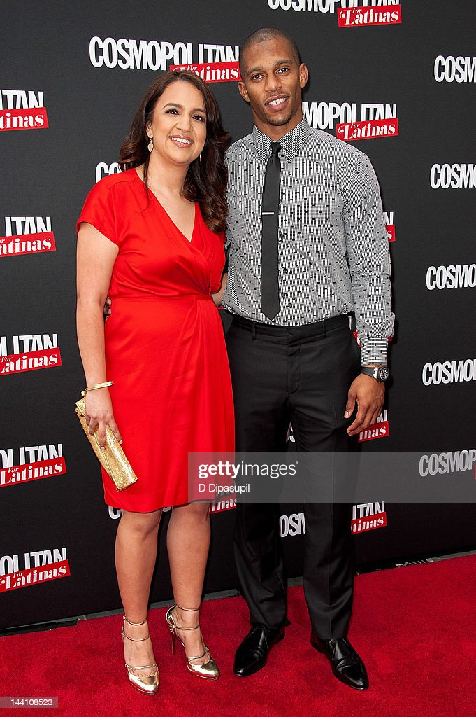 Cosmopolitan for Latinas Editor-in-Chief Michelle Herrera Mulligan (L) and NFL player <a gi-track='captionPersonalityLinkClicked' href=/galleries/search?phrase=Victor+Cruz+-+American+Football+Player&family=editorial&specificpeople=8736842 ng-click='$event.stopPropagation()'>Victor Cruz</a> attend the Cosmopolitan For Latinas' Premiere Issue Party at Press Lounge at Ink48 on May 9, 2012 in New York City.