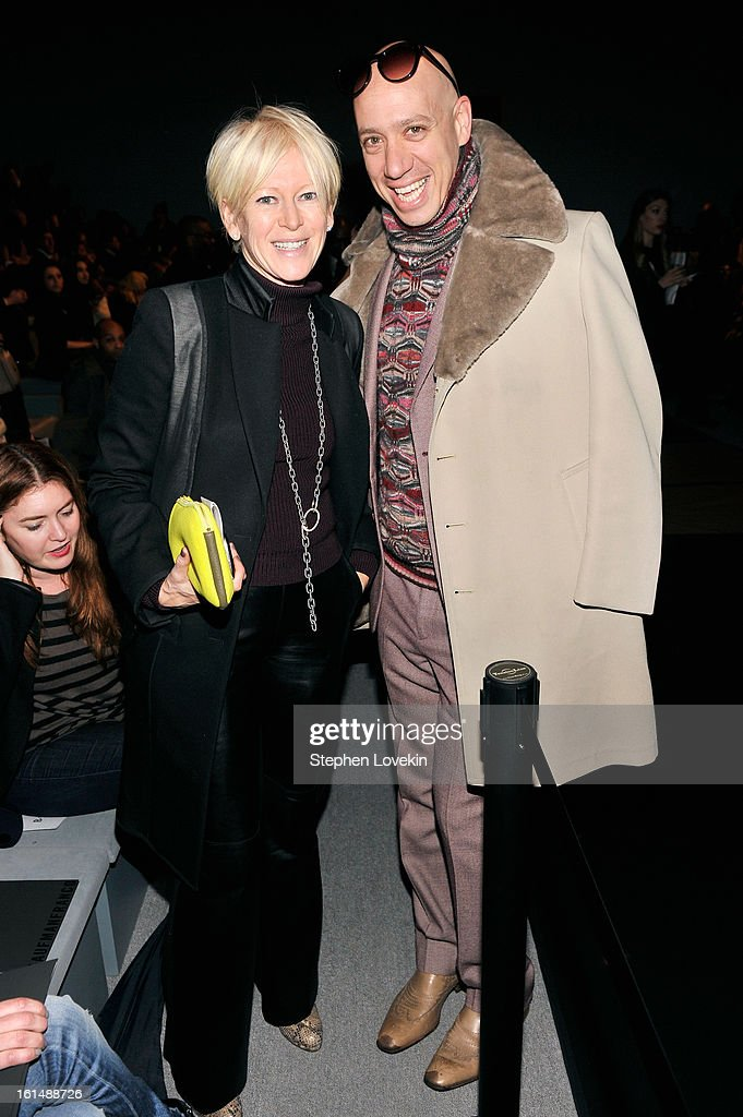 Cosmopolitan Magazine Editor-in-Chief <a gi-track='captionPersonalityLinkClicked' href=/galleries/search?phrase=Joanna+Coles&family=editorial&specificpeople=4060670 ng-click='$event.stopPropagation()'>Joanna Coles</a> and stylist <a gi-track='captionPersonalityLinkClicked' href=/galleries/search?phrase=Robert+Verdi&family=editorial&specificpeople=209358 ng-click='$event.stopPropagation()'>Robert Verdi</a> attend the Kaufmanfranco Fall 2013 fashion show during Mercedes-Benz Fashion Week at The Stage at Lincoln Center on February 11, 2013 in New York City.