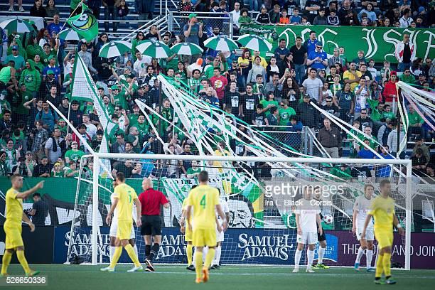 NY Cosmos fans during the Soccer 2015 NASL NY Cosmos vs Tampa Bay Rowdies match on April 18 2015 at James M Shuart Stadium in Hempstead NY USA The NY...