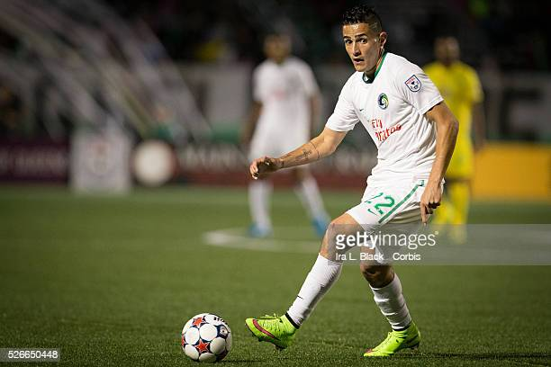 NY Cosmos player Leonardo Fernandes keeps control of the ball during the Soccer 2015 NASL NY Cosmos vs Tampa Bay Rowdies match on April 18 2015 at...