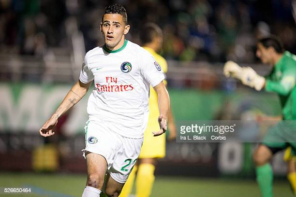 NY Cosmos player Leonardo Fernandes reacts to the goal during the Soccer 2015 NASL NY Cosmos vs Tampa Bay Rowdies match on April 18 2015 at James M...