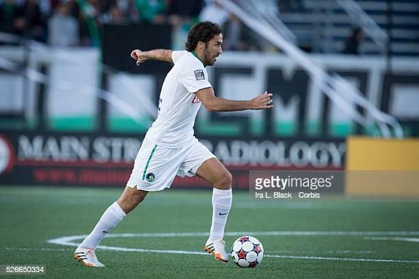 NY Cosmos player Raul drives toward the goal during the Soccer 2015 NASL NY Cosmos vs Tampa Bay Rowdies match on April 18 2015 at James M Shuart...