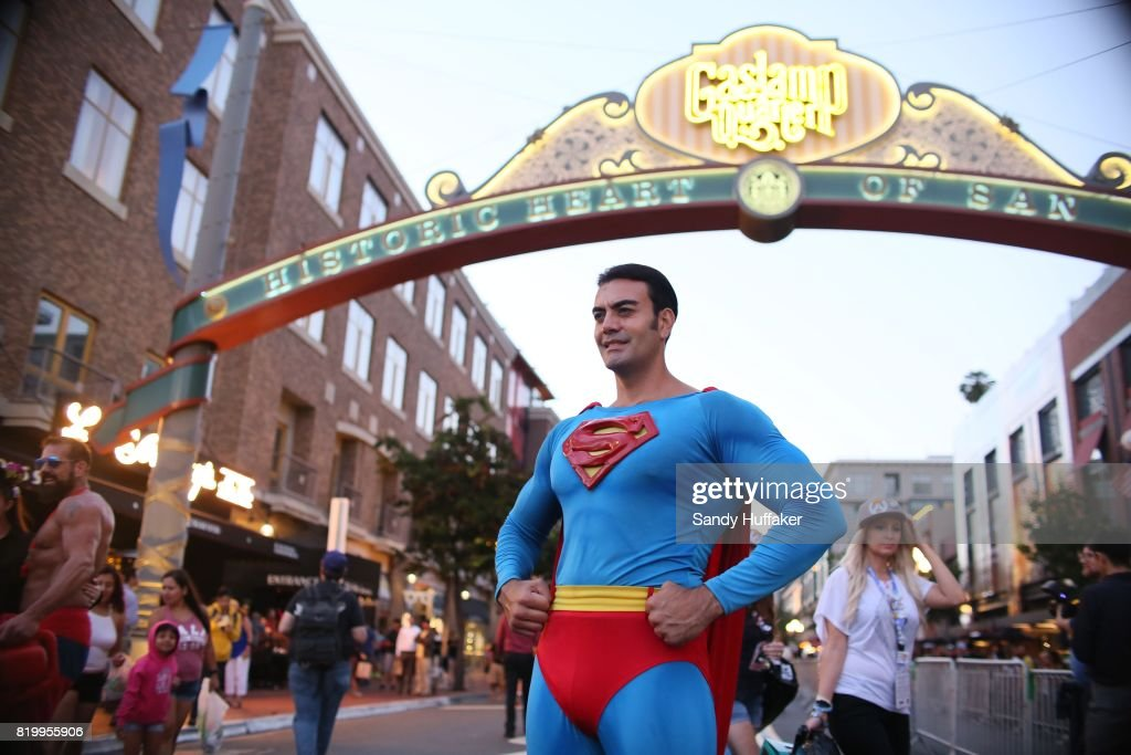 A Cosplay character dressed as Superman, poses for pictures along 5th Avenue in the Gaslamp Quarter during Comic Con International on July 20, 2017 in San Diego, California. Comic Con International is North America's largest Comic convention featuring pop culture and entertainment elements across virtually all genres, including horror, animation, anime, manga, toys, collectible card games, video games, webcomics, and fantasy novels as well as movie premieres and actor panels.