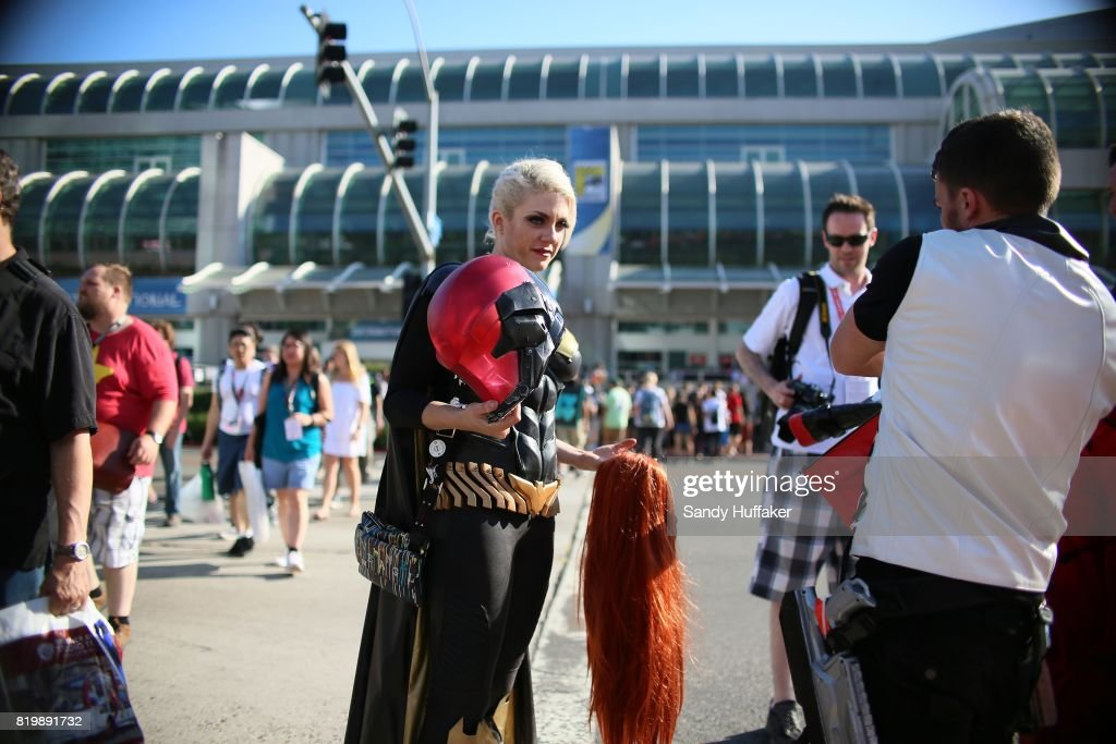 A cosplay character stands outside of the San Diego Convention Center during Comic Con International in San Diego, California on Thursday, July 20, 2017. Comic Con International is North America's largest Comic convention featuring pop culture and entertainment elements across virtually all genres, including horror, animation, anime, manga, toys, collectible card games, video games, webcomics, and fantasy novels as well as movie premieres and actor panels.