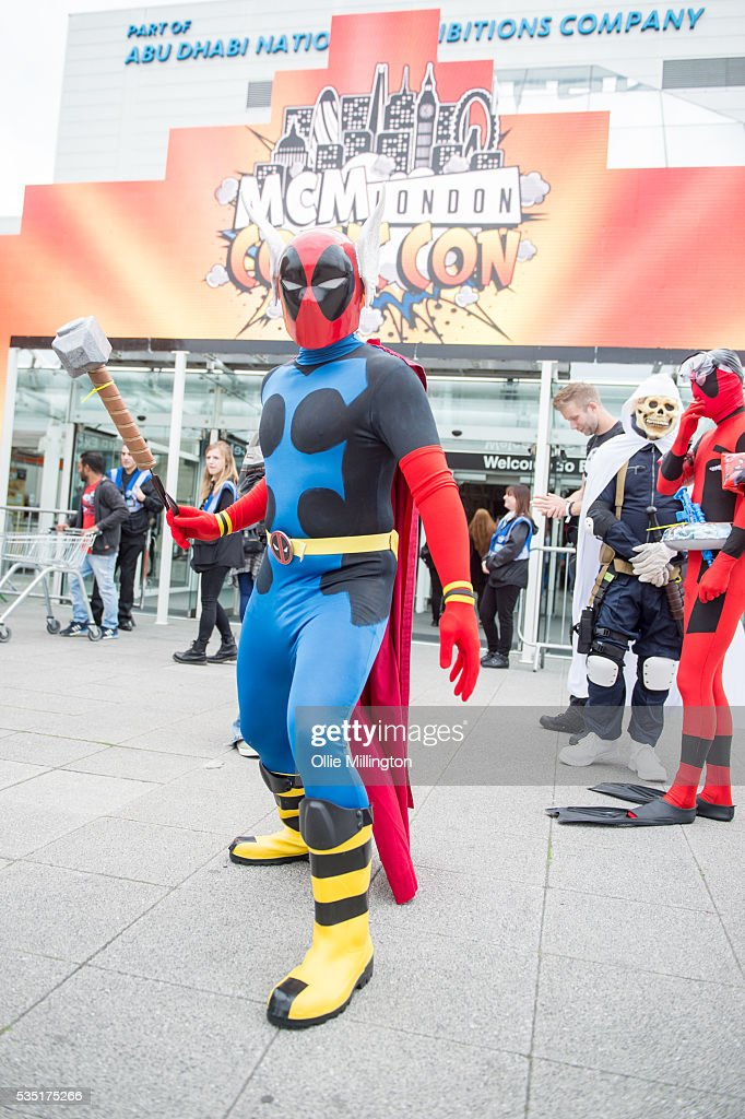 A cosplay enthusiast appears in character as a Deadpool Thor hybrid from the Fallout vide game during Day 1 of MCM London Comic Con at The London ExCel on May 27, 2016 in London, England.