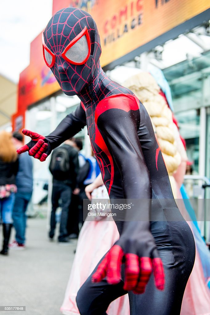 A cosplay enthusiast appears in character as Spider-man during Day 1 of MCM London Comic Con at The London ExCel on May 27, 2016 in London, England.