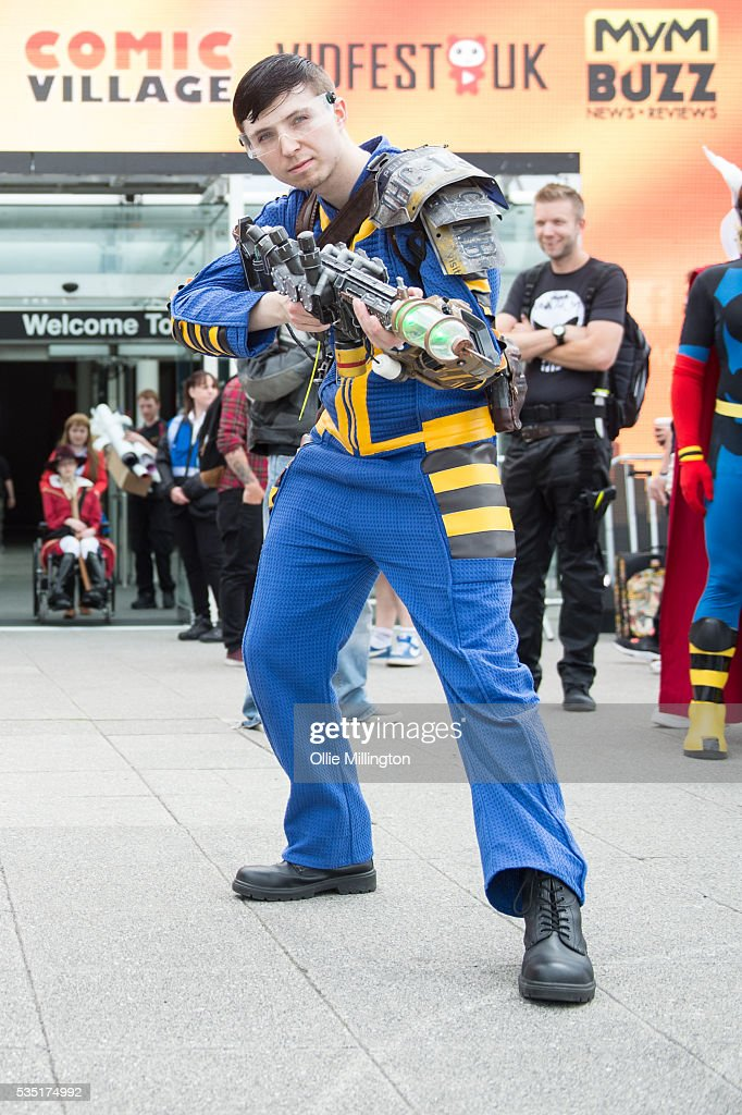 A cosplay enthusiast appears in character as their favourite characters from the Fallout vide game during Day 1 of MCM London Comic Con at The London ExCel on May 27, 2016 in London, England.