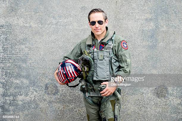 A cosplay enthusiast as Maverick from Top Gun on Day 2 of MCM London Comic Con at The London ExCel on May 28 2016 in London England