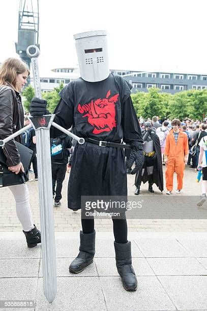 A cosplay enthusiast as Monty Pythons The Black Knight on Day 2 of MCM London Comic Con at The London ExCel on May 28 2016 in London England