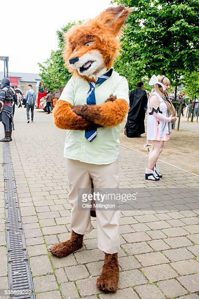 A cosplay enthusiast dressed as The Fantastic Mr Fox on Day 2 of MCM London Comic Con at The London ExCel on May 28 2016 in London England