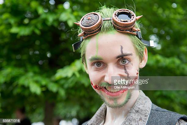 A cosplay enthusiast dressed as The Joker on Day 2 of MCM London Comic Con at The London ExCel on May 28 2016 in London England
