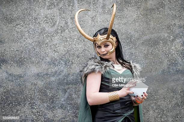 A cosplay enthusiast dressed as Thors brother Loki on Day 2 of MCM London Comic Con at The London ExCel on May 28 2016 in London England