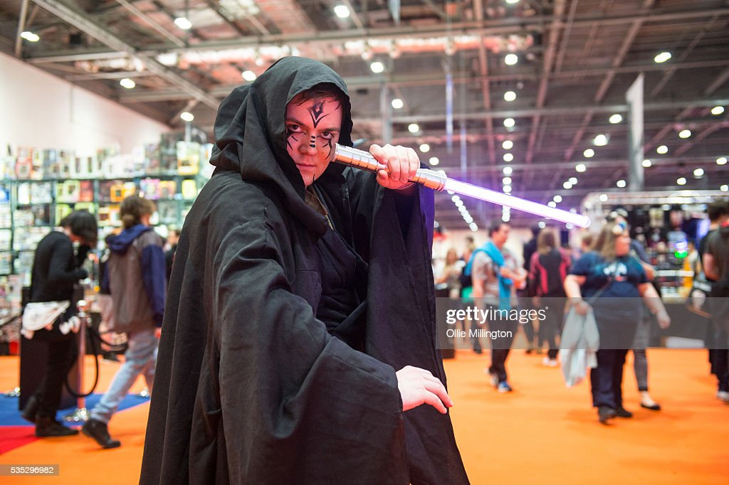 A Cosplay enthusiast in character as Darth Maul form Star Wars on Day 1 of MCM London Comic Con at The London ExCel on May 27, 2016 in London, England.