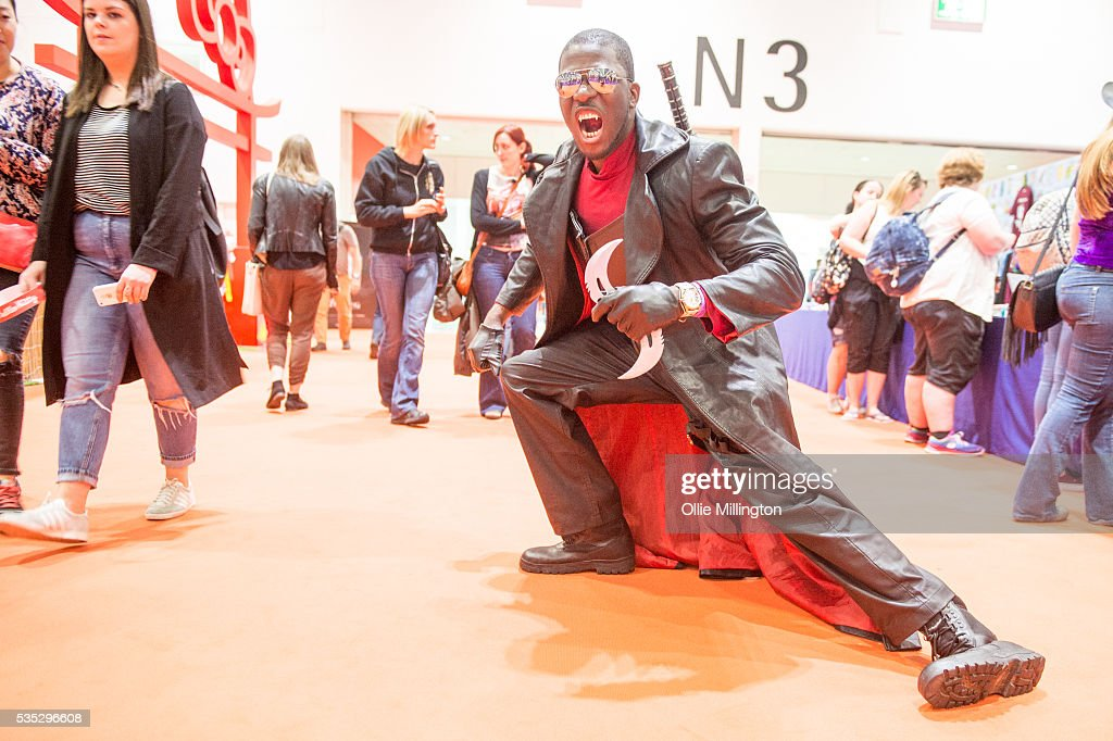 A Cosplay enthusiast in costume as Blade The Vampire Hunter on Day 1 of MCM London Comic Con at The London ExCel on May 27, 2016 in London, England.