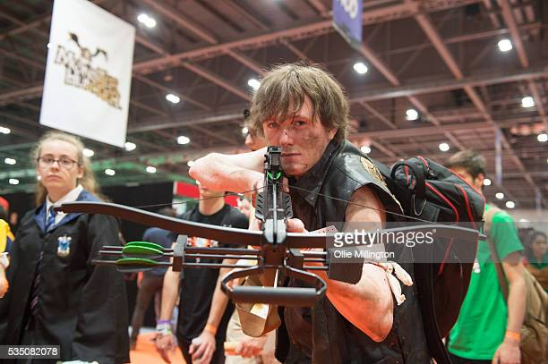 Cosplay enthusiast in costume as Daryl Dixon from The Walking Dead seen on Day 2 of MCM London Comic Con at The London ExCel on May 28 2016 in London...