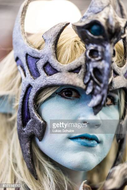 Cosplay enthusiast visits the Gamescom 2017 video gaming trade fair on August 22 2017 in Cologne Germany Gamescom is the world's secondlargest games...